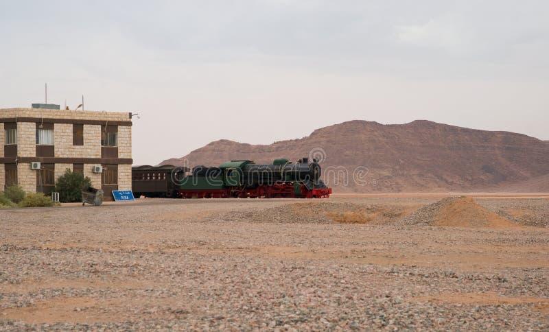 Локомотив Hejaz железнодорожный в станции рома вадей, Джордане стоковое фото