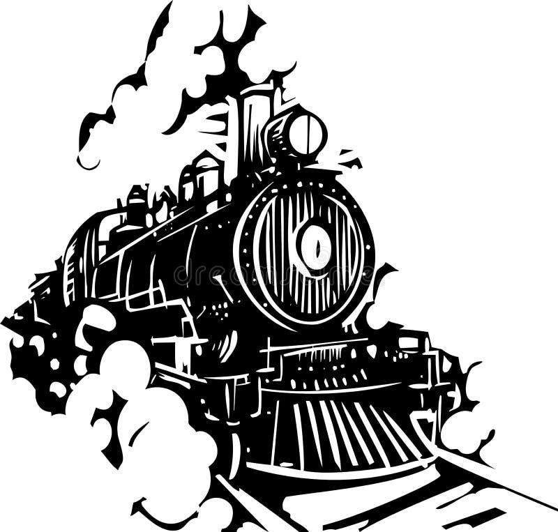 Локомотив Woodcut иллюстрация штока