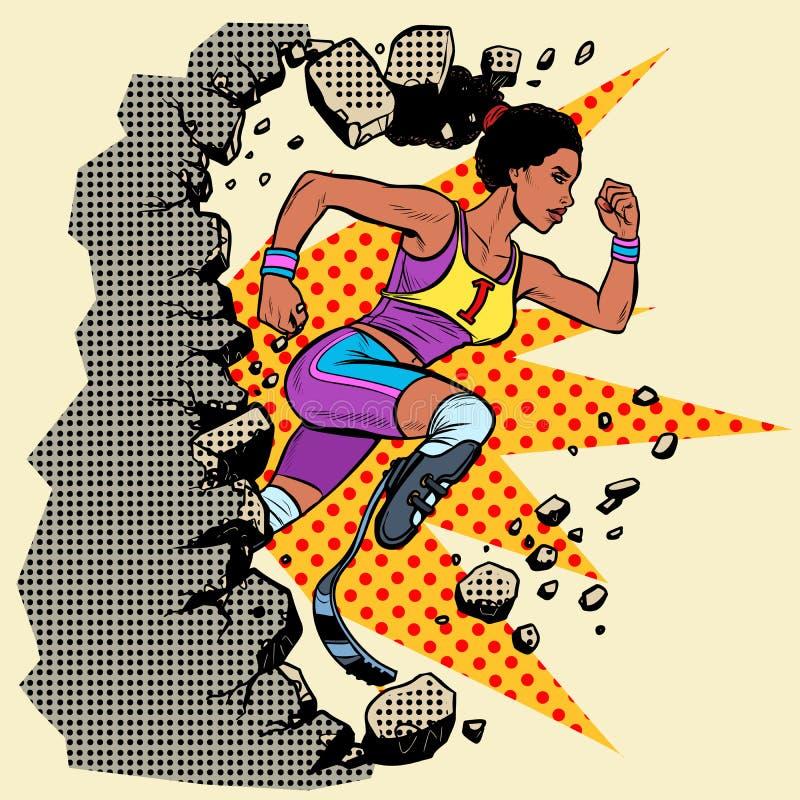 Ломает бегуна женщины стены неработающего африканского с протезами ноги бежать вперед Конкуренция спорт иллюстрация вектора