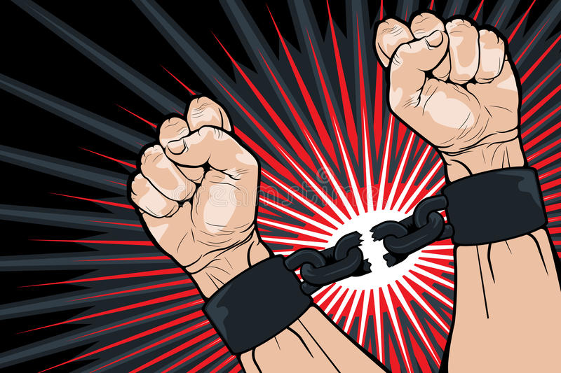 Ломать скрепления для свободы иллюстрация штока