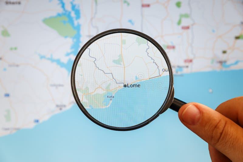 Ломе, Того Политическая карта стоковая фотография rf