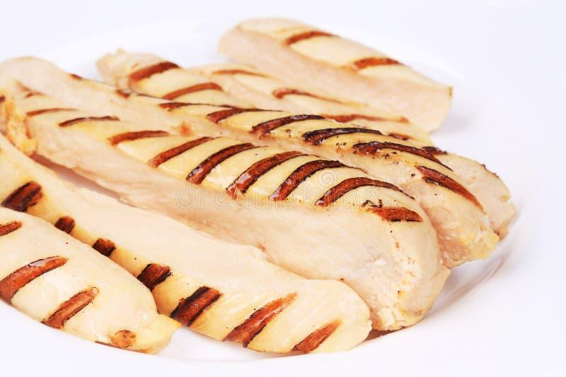Ломтики зажженной куриной грудки стоковое изображение