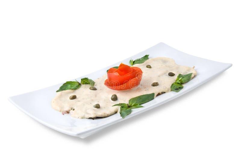 ломтики соуса плиты ветчины стоковые изображения