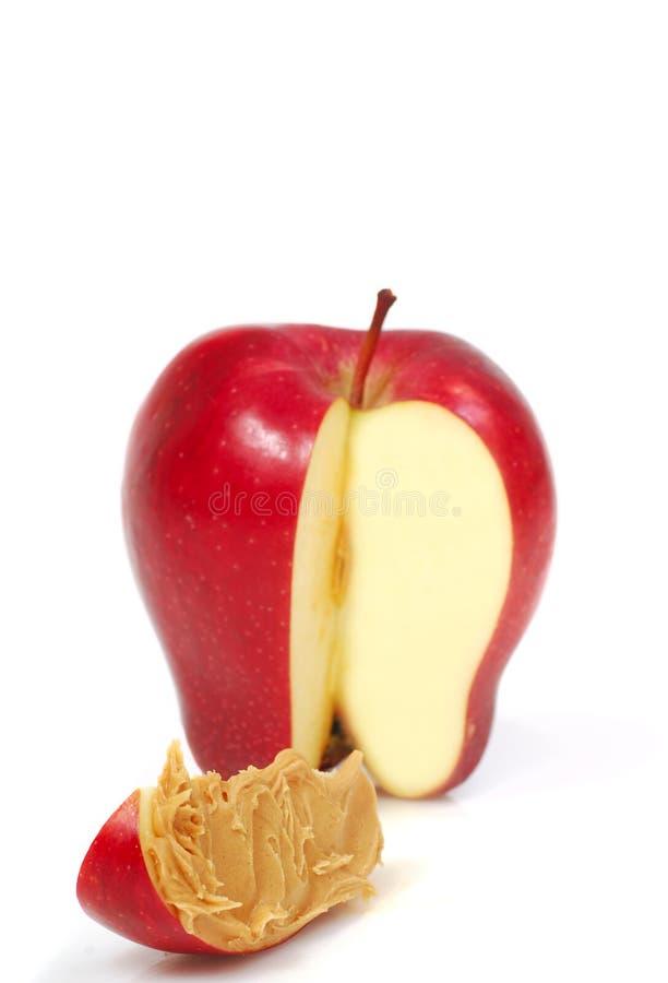 ломтик арахиса масла яблока стоковые изображения rf