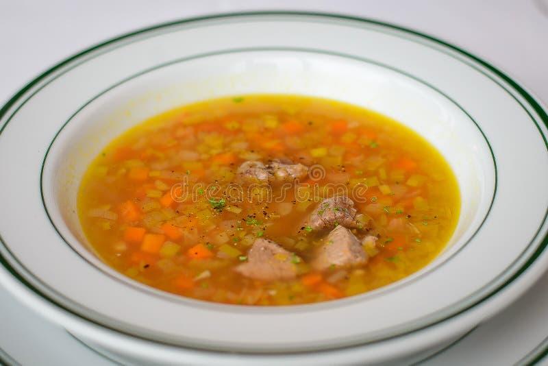 Ломти говядины woth супа говядины и овощи ячменя смешанные стоковая фотография