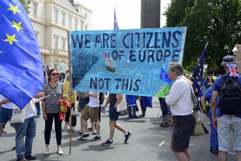 Лондон, Англия 23-ье июня 2018 Марш протеста голосования ` s людей стоковые фотографии rf