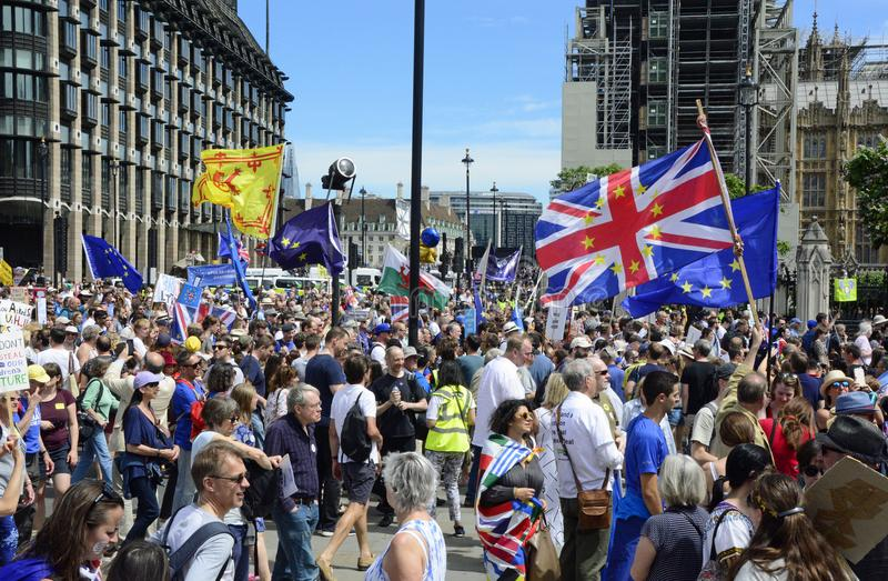 Лондон, Англия 23-ье июня 2018 Марш протеста голосования ` s людей стоковое изображение rf