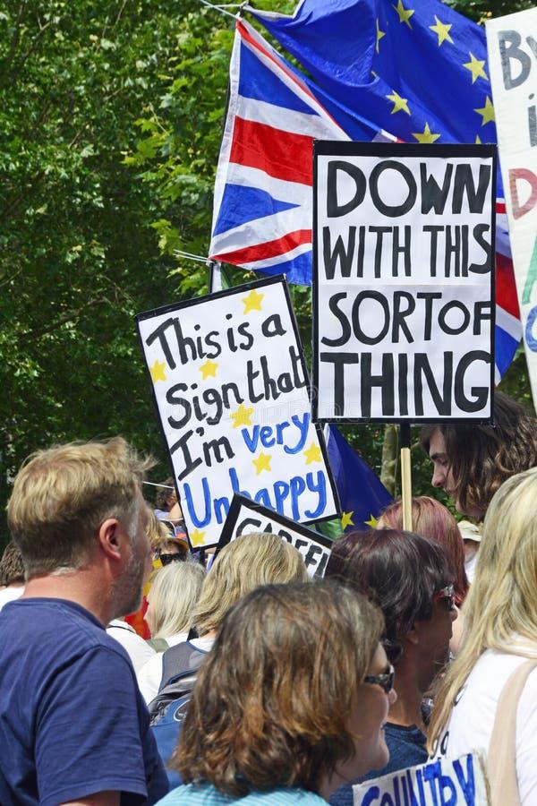 Лондон, Англия 23-ье июня 2018 Марш протеста голосования ` s людей стоковое фото