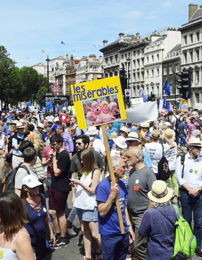 Лондон, Англия 23-ье июня 2018 Марш протеста голосования ` s людей стоковая фотография