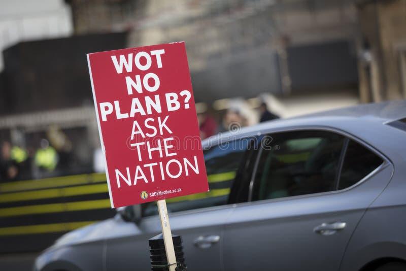 Лондон, Великобритания, 7-ое февраля 2019, знамя протеста против выходить ЕС и для голосования peopes стоковое фото