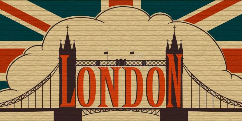 Лондон, мост башни и флаг Великобритании иллюстрация вектора