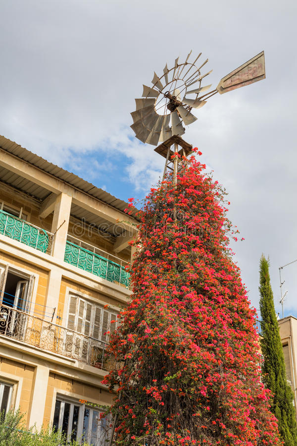 Лопасть ветра, улица в старом городке, Никосии, Кипре стоковые фотографии rf
