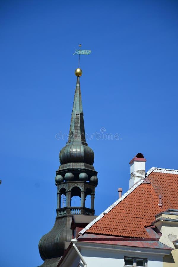 Лопасть погоды и steeple в старом Таллине стоковое изображение rf