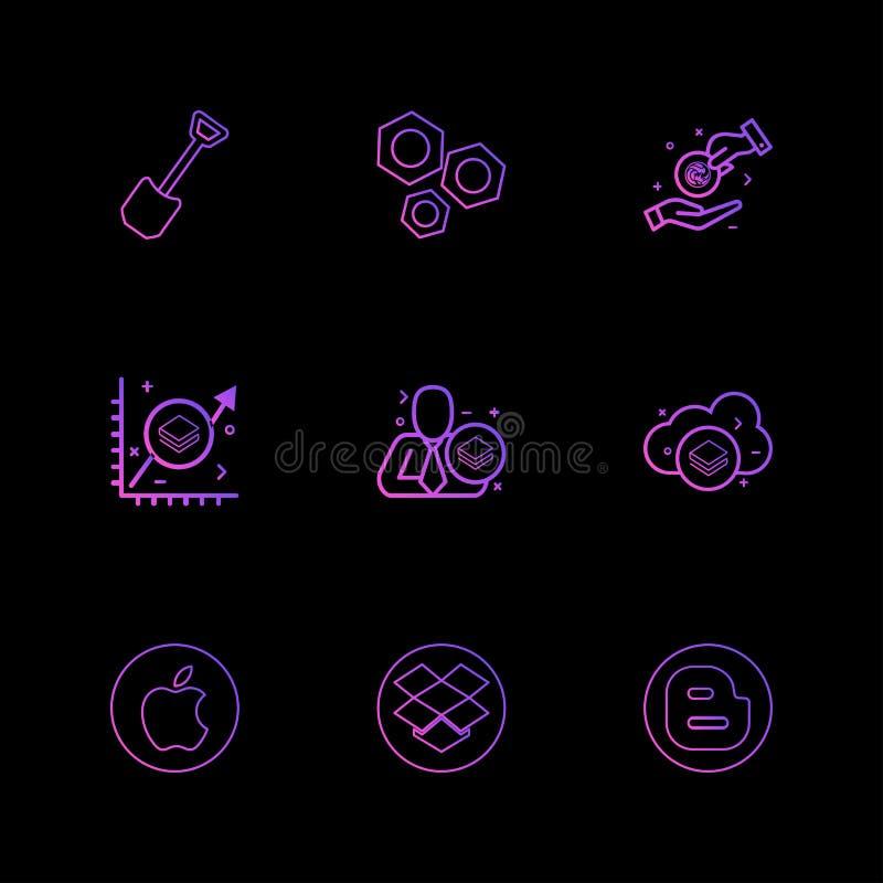 лопата, гайка, яблоко, Dropbox, блоггер, секретная валюта, старт бесплатная иллюстрация