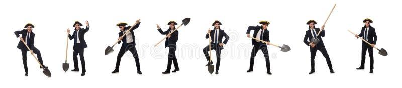Лопата удерживания бизнесмена пирата изолированная на белизне стоковое изображение