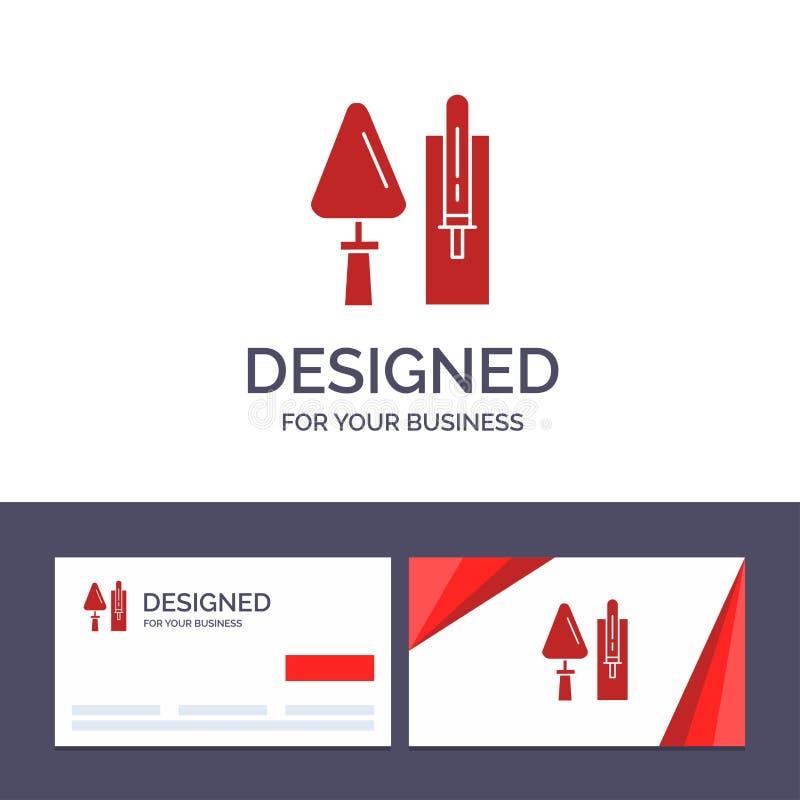 Лопатка творческого шаблона визитной карточки и логотипа, кирпичная кладка, конструкция, Masonry, иллюстрация вектора инструмента иллюстрация штока