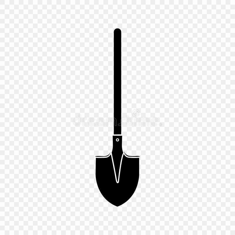 Лопаткоулавливатель, лопата, значок, изолированный силуэт Оборудование сада Весна, работа лета Инструменты фермы для выкапывать о иллюстрация вектора