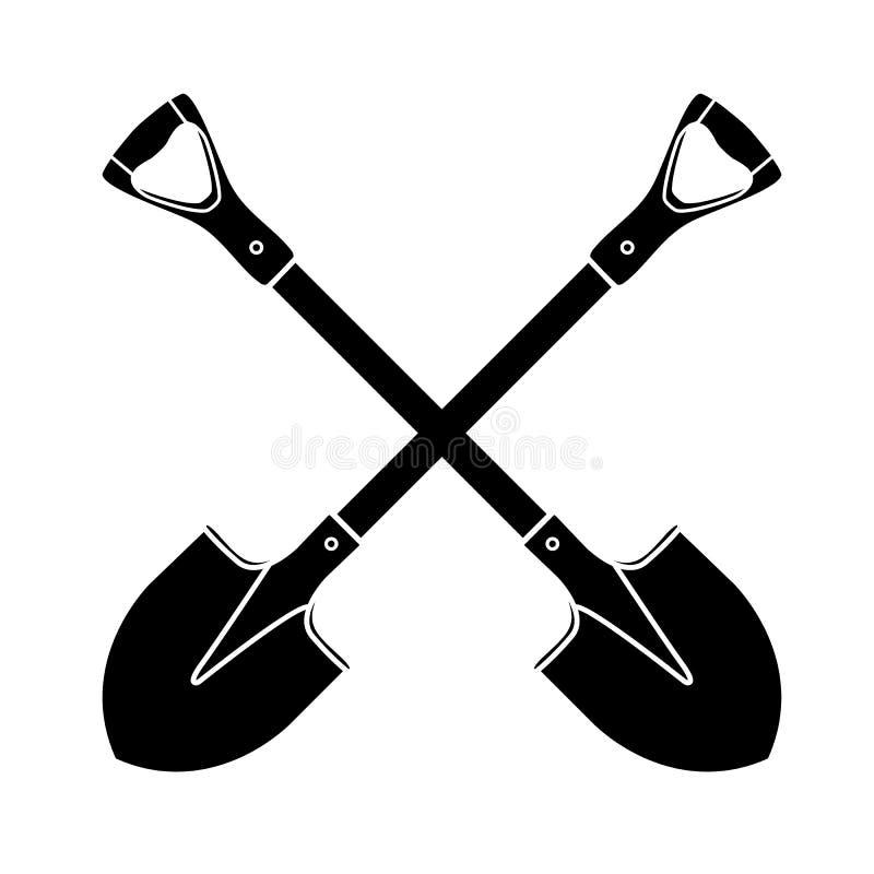 Лопаткоулавливатель, лопата, значок силуэта на изолированной предпосылке Оборудование сада Работа лета весны Инструменты фермы дл бесплатная иллюстрация