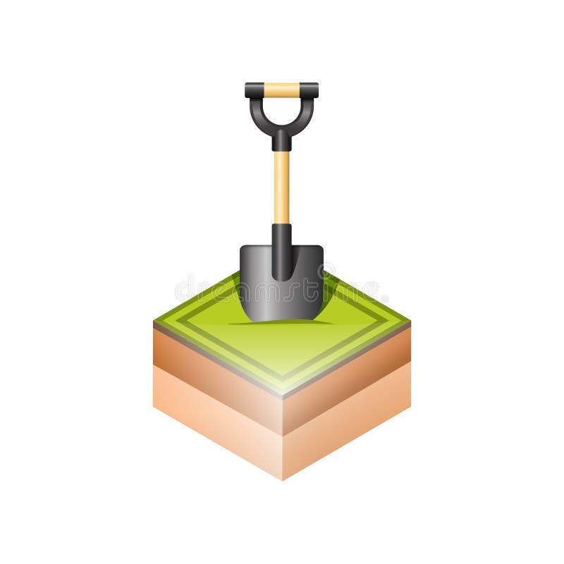 Лопаткоулавливатель в земле иллюстрация вектора