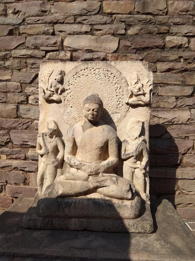 Лорд Будда, буддийский памятник SANCHI, около Бхопала, Индия стоковая фотография rf