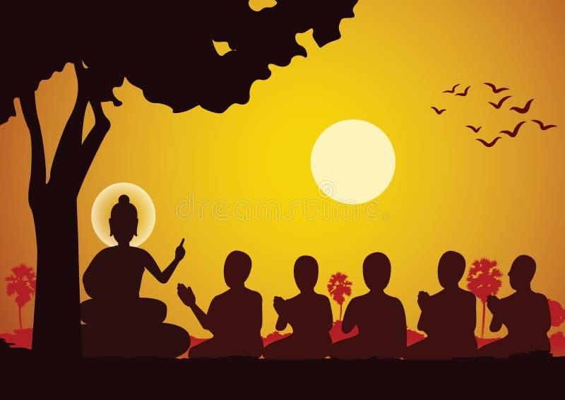 Лорд проповеди Будды до 5 аскетов и был просвещает становить иллюстрация штока