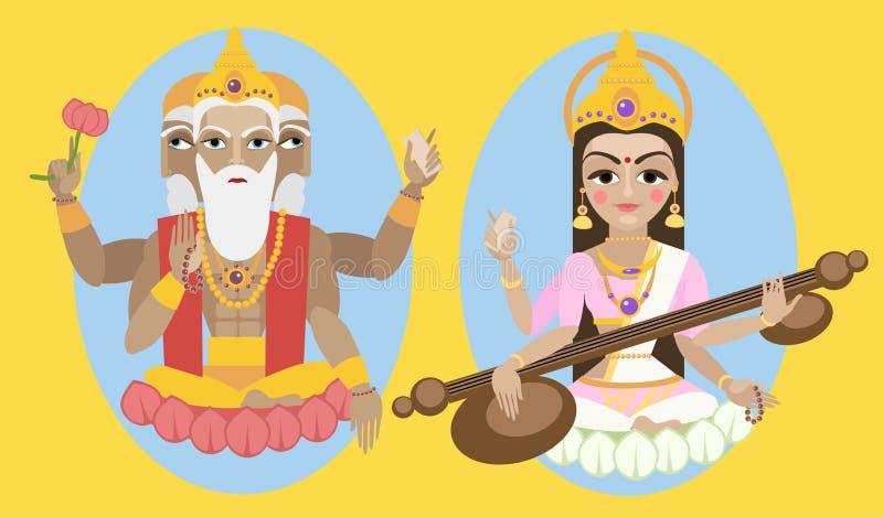 Лорд Brahma вектора и devi Sarasvati иллюстрация штока