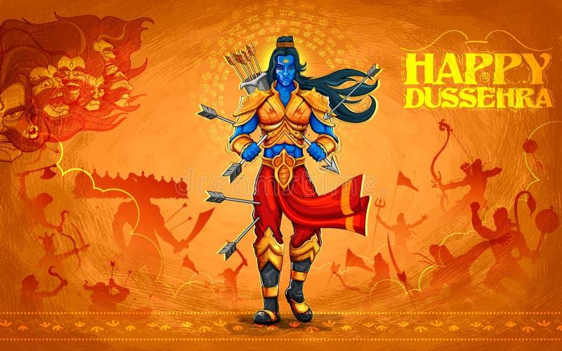Лорд Rama при стрелка убивая Ravana иллюстрация вектора