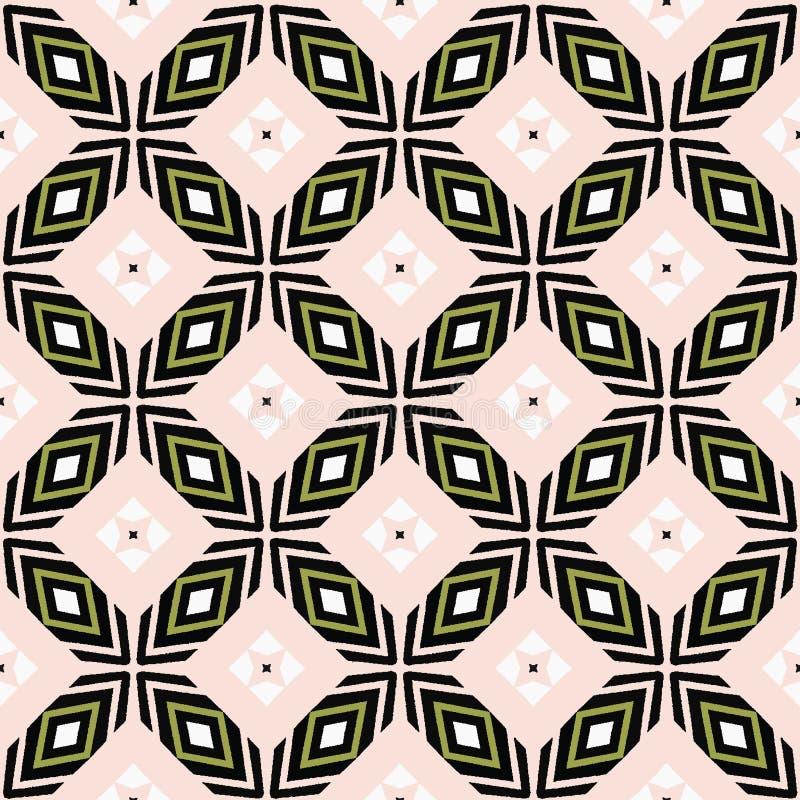 Лоскутное одеяло точки цветка смелой руки вычерченное перекрестное Предпосылка картины вектора безшовная Иллюстрация симметрии ге иллюстрация вектора