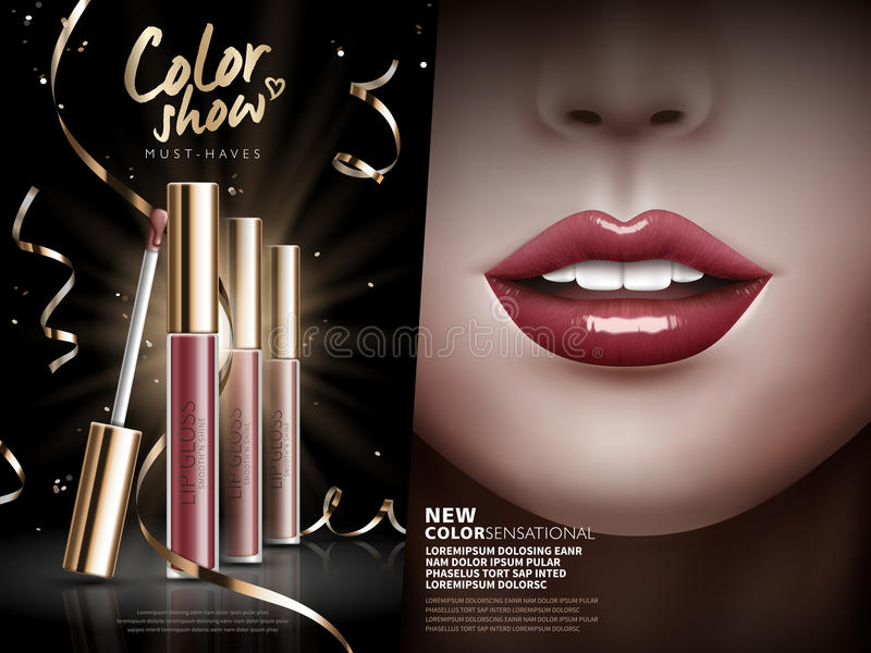 Лоск губы выставки цвета бесплатная иллюстрация