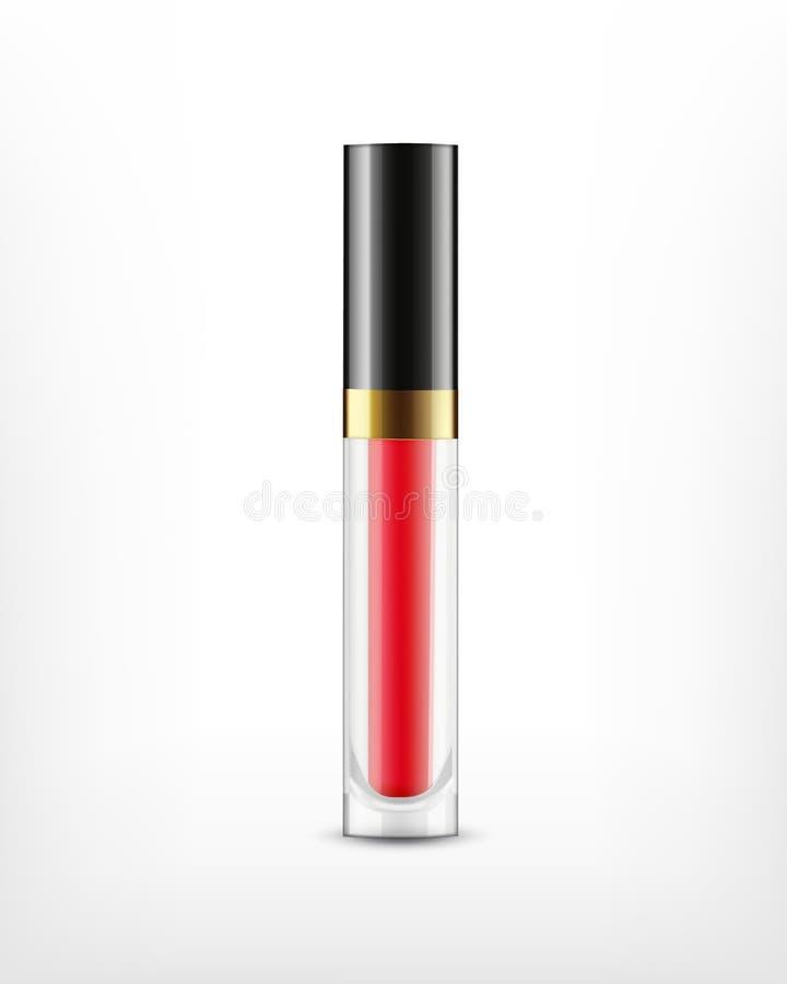 Лоск губы в стеклянной бутылке иллюстрация штока