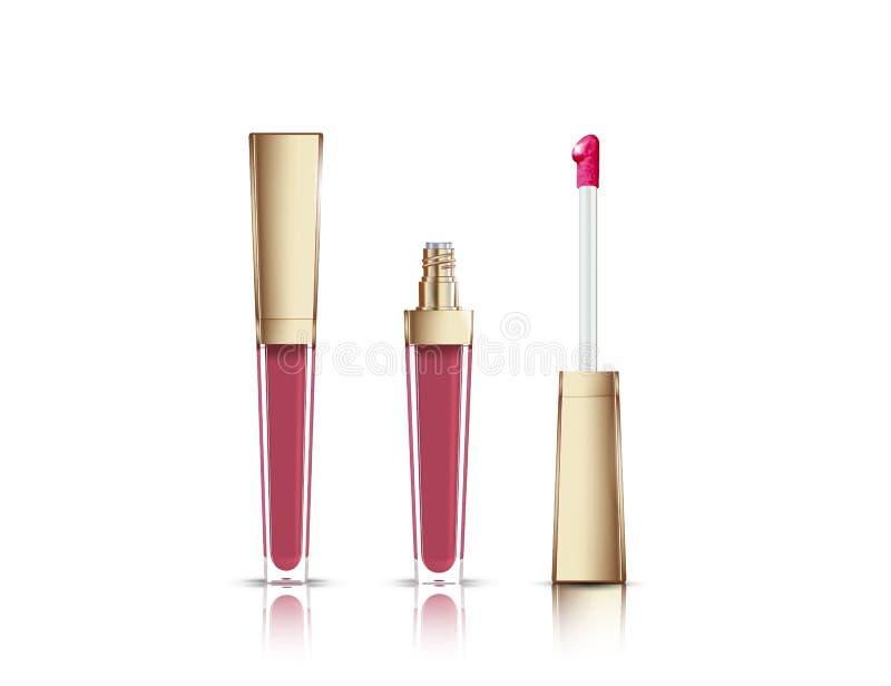 Лоск губы в элегантной стеклянной бутылке с золотым контейнером крышки, закрытого и открытого с щеткой, на белой предпосылке бесплатная иллюстрация