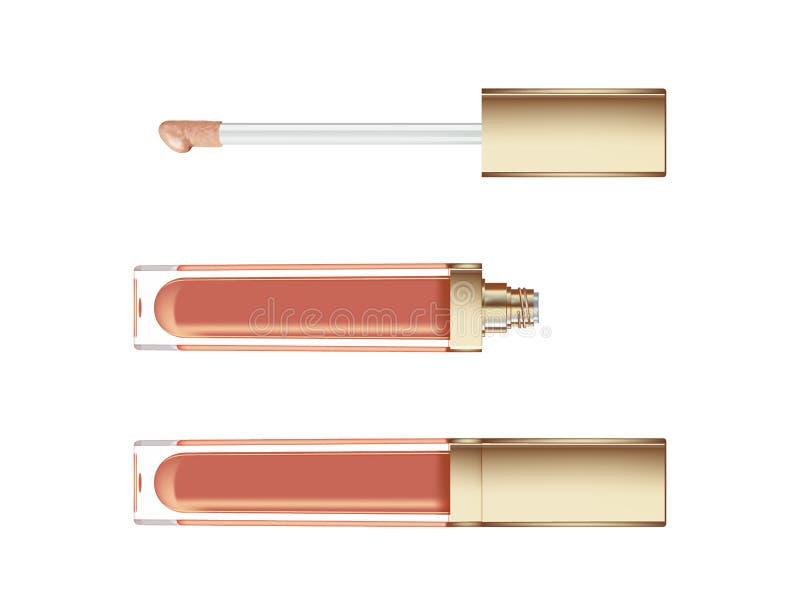 Лоск губы в элегантной стеклянной бутылке с золотым контейнером крышки, закрытого и открытого при щетка, изолированная на белой п иллюстрация вектора