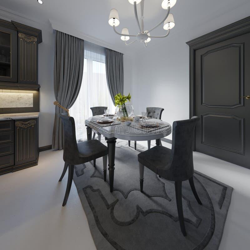 Лоск черноты цвета деревянного стола таблица сделанная темного деревянного классического стиля Таблица и 4 классической сюиты кух бесплатная иллюстрация