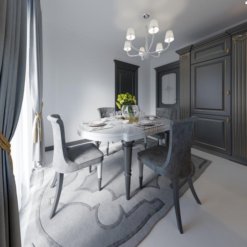 Лоск черноты цвета деревянного стола таблица сделанная темного деревянного классического стиля Таблица и 4 классической сюиты кух иллюстрация штока