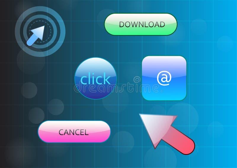 Лоснистая кнопка в современных иллюстрациях вектора стиля бесплатная иллюстрация