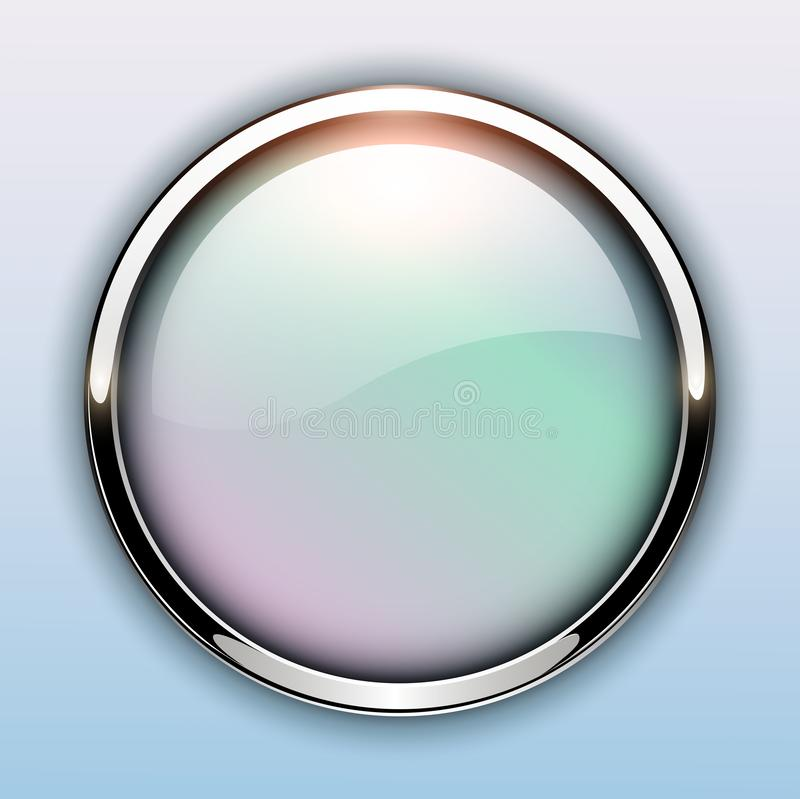 Лоснистая кнопка с металлическими элементами иллюстрация штока