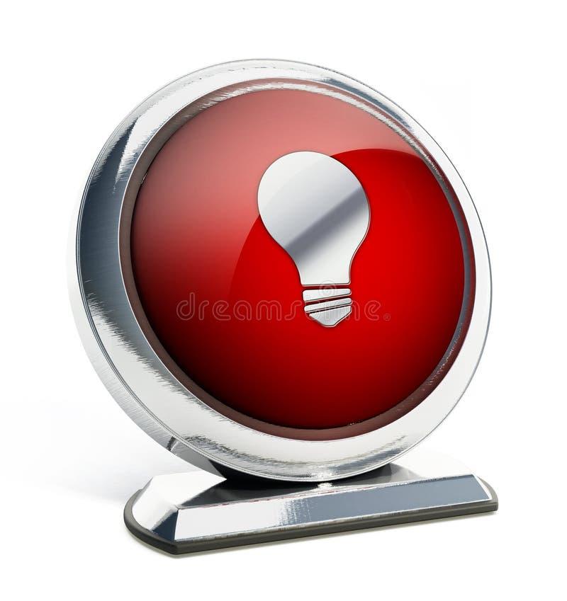 Лоснистая красная кнопка с символом лампочки иллюстрация 3d иллюстрация штока