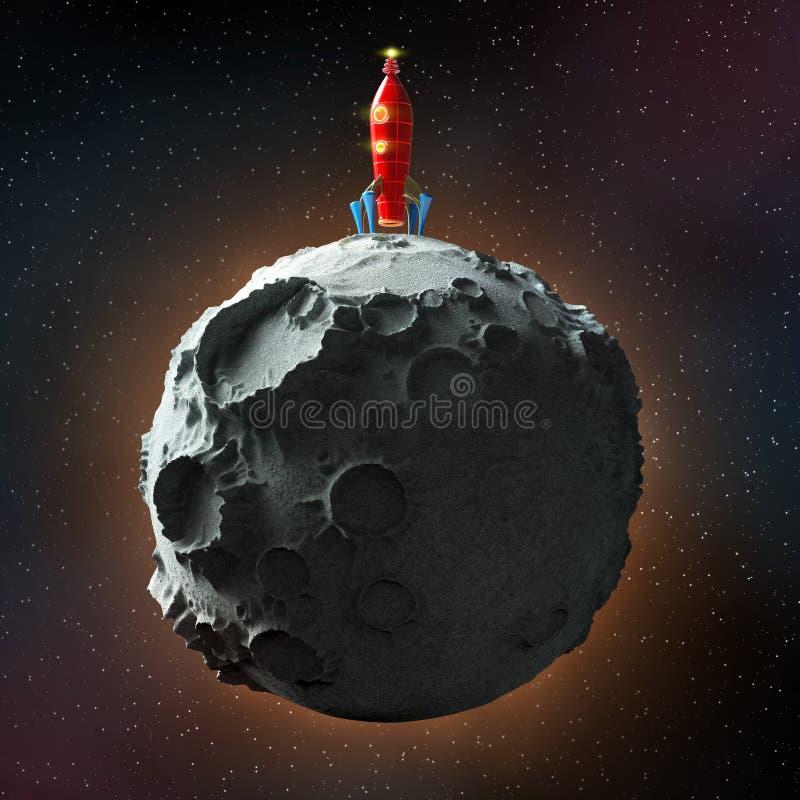 Лоснистая металлическая винтажная ракета приземлилась на поверхность луны разметьте с предпосылкой звезд Высококачественный предс иллюстрация штока