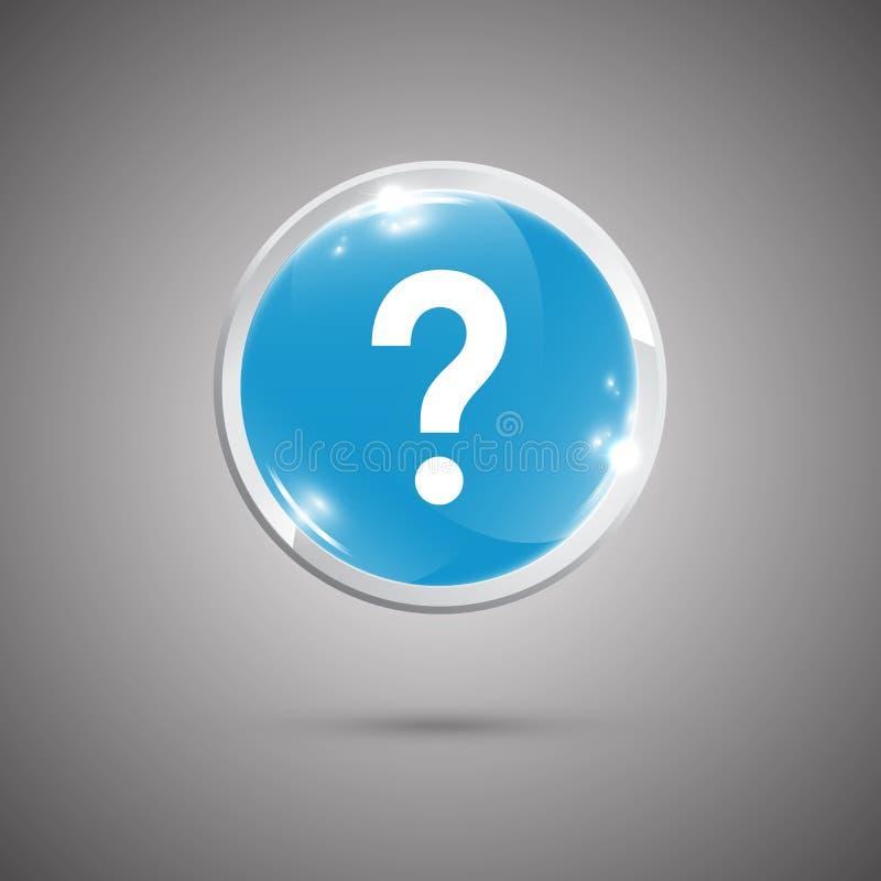 Лоснистая округленная кнопка с вопросительный знак иллюстрация штока