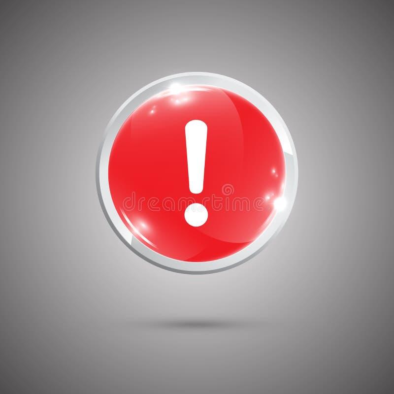 Лоснистая округленная кнопка с восклицательным знаком бесплатная иллюстрация