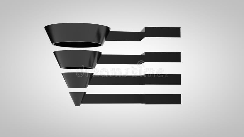 Лоснистое воронки Marketing-4 Шаг-черное иллюстрация вектора