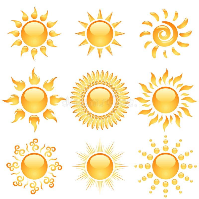лоснистое солнце икон иллюстрация штока
