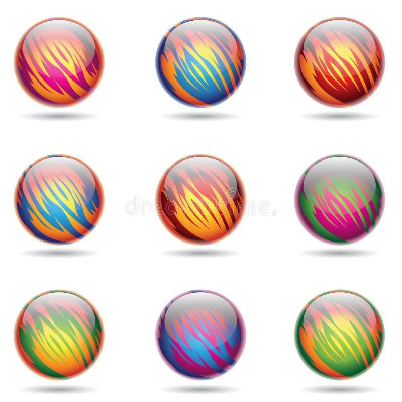 лоснисто как сферы планеты иллюстрация вектора