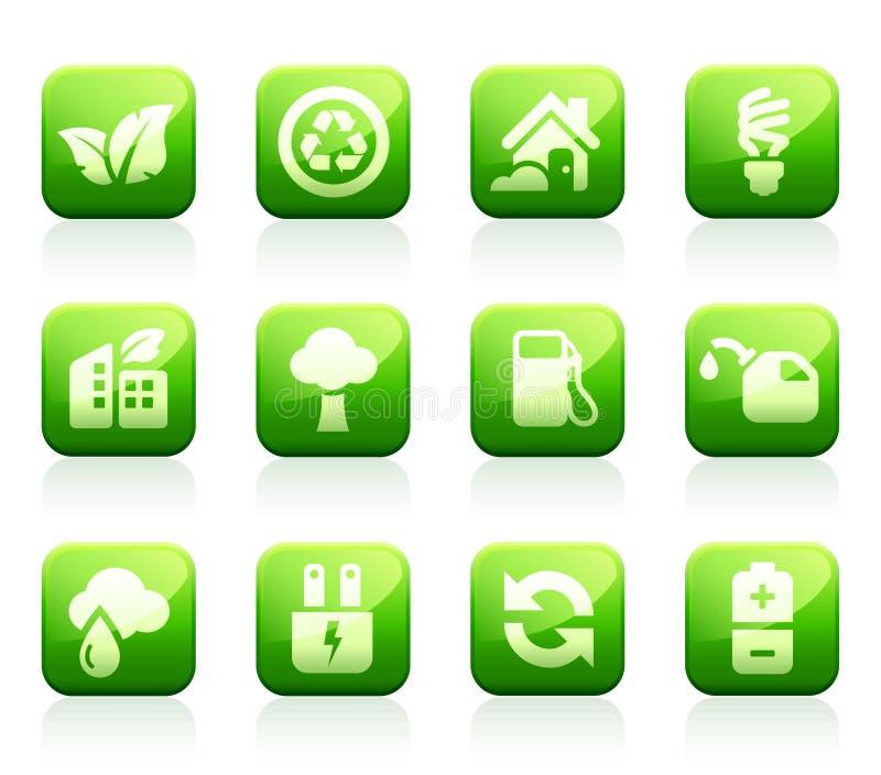 лоснистые зеленые иконы иллюстрация вектора
