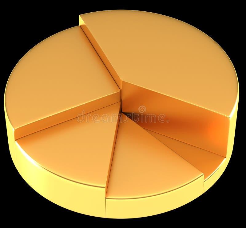 Лоснистые золотые долевая диограмма или круговой диаграмм иллюстрация вектора