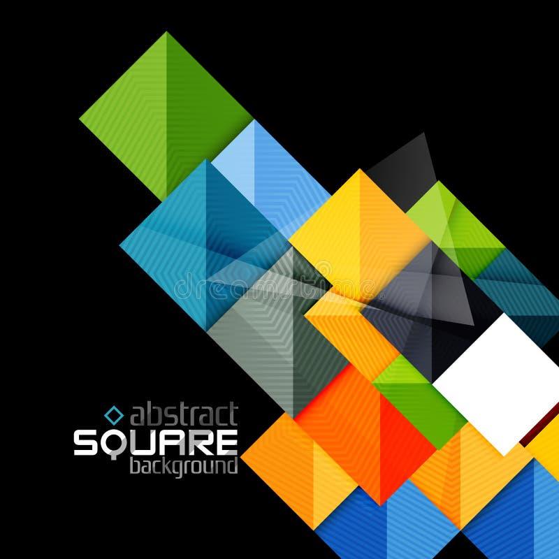 Лоснистые квадраты цвета на черноте абстрактная предпосылка геометрическая иллюстрация вектора