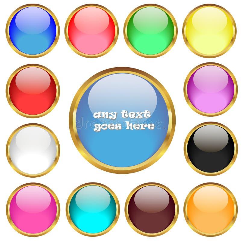 Лоснистые кнопки в золотом комплекте вектора колец иллюстрация вектора