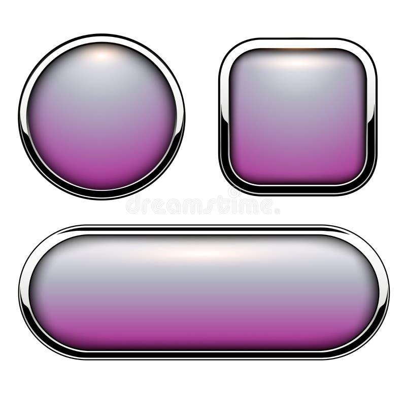 Лоснистые кнопки пурпурные иллюстрация вектора