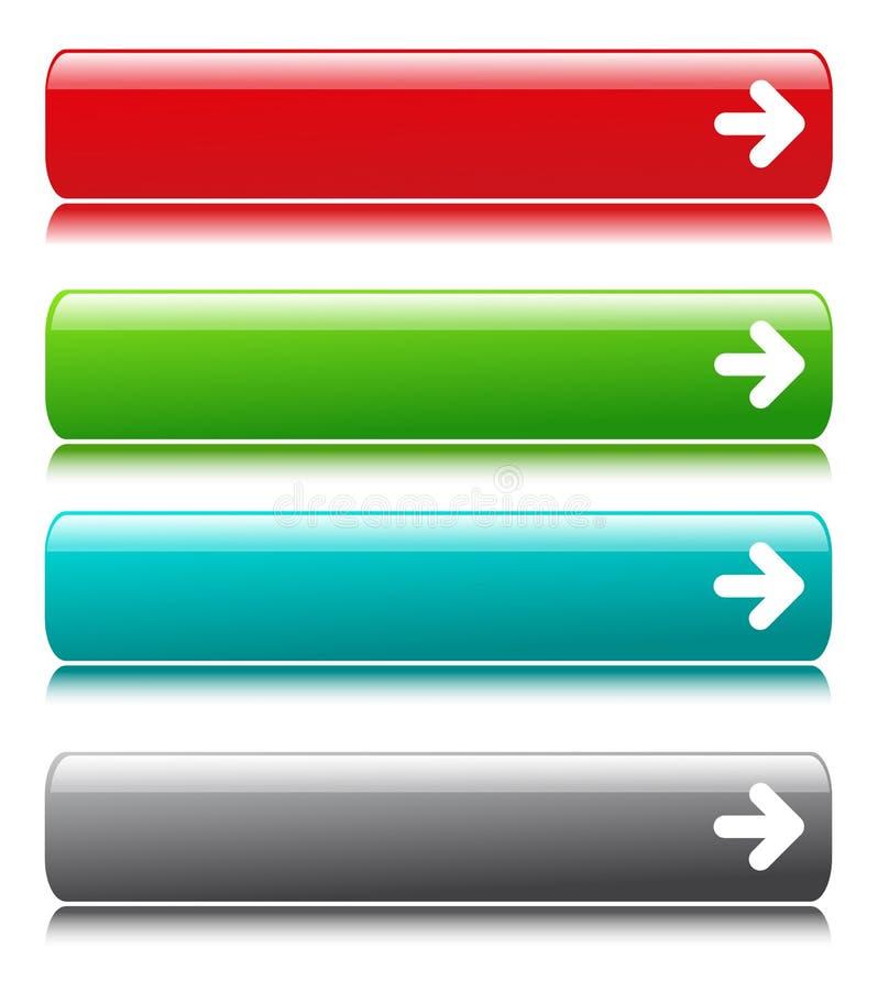 Лоснистые кнопки цвета сатинировки с символом стрелки иллюстрация штока