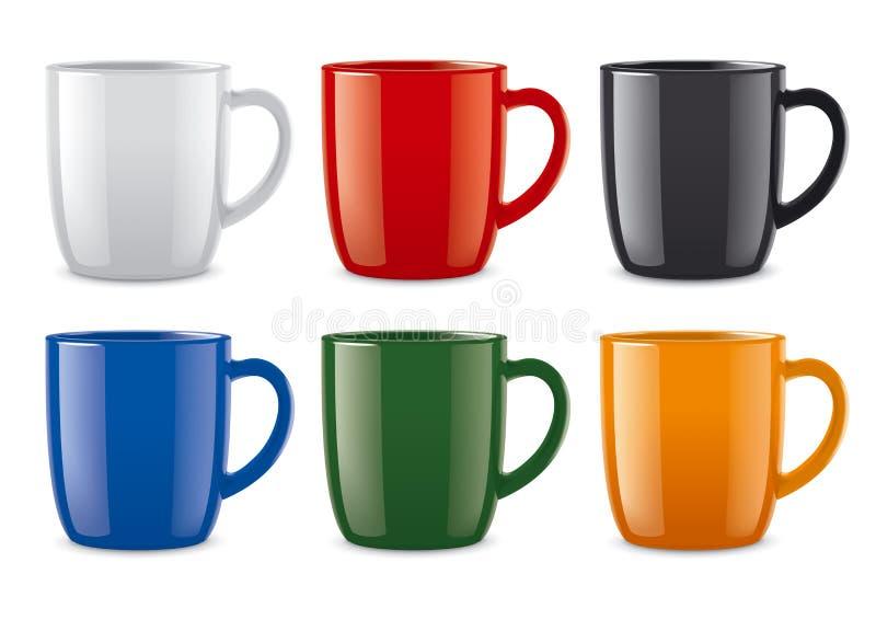 Лоснистые покрашенные чашки иллюстрация вектора